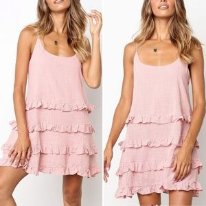 Pink Scoop-Neck Ruffle-Tier Tunic